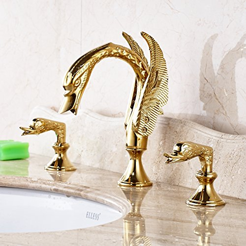 Rozin Swan Design 3pcs Widespread Bathroom Sink Faucet Double Handles Basin Mixer Tap Gold Polished free shipping