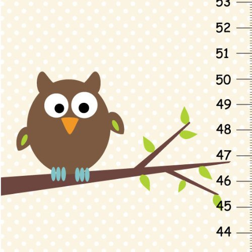 Polka Dot Brown Owl Growth Chart, Owl on Tree Height Chart for Kids, Personalized Wall Decor for Children Bedroom