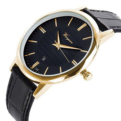 Gold Black Leather Watch - Men Watch Ultra Thin Watch Black Gold Watch Calendar Sport Watches Mens Waterproof Leather Quartz Watch