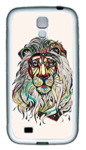 Galaxy S4 Case, Personalized Custom Protective Soft Rubber TPU White Edge Lion Color Case Cover for Samsung Galaxy S4 I9500