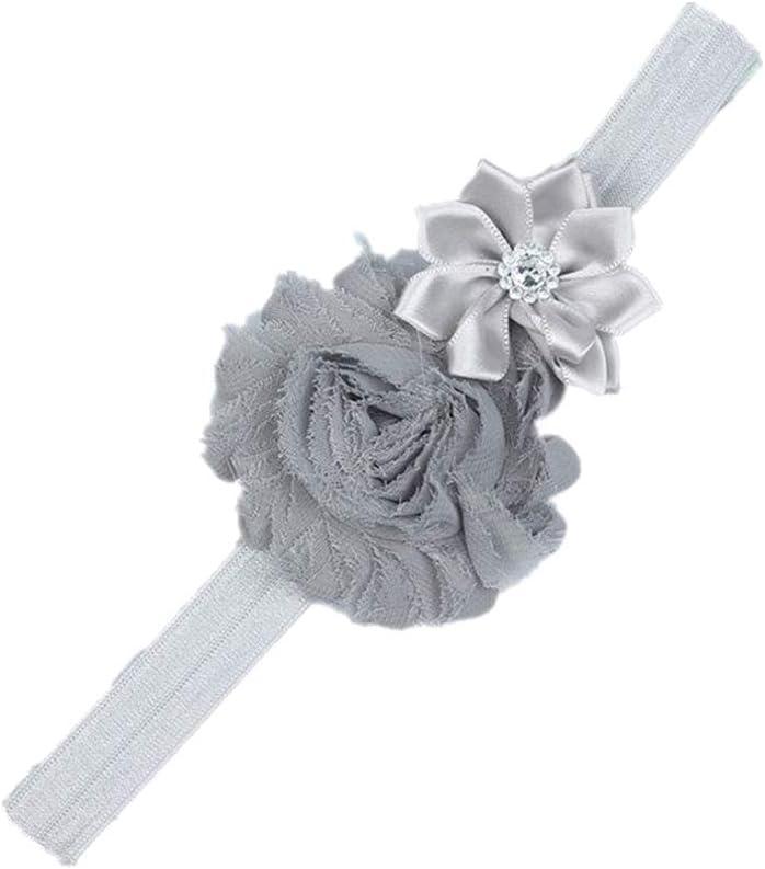 Bandeau B/éb/é Imprim/é Bande de Cheveux pour Les Enfants Bandeau b/éb/é Bandeaux Elastiques avec Fleur Beige Qingsun