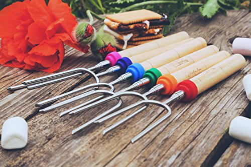 Carpathen Premium Set of 6 Marshmallow and Hot Dog Roasting Sticks 34 Inch Sturdy Extra Long Telescoping Smores Skewers