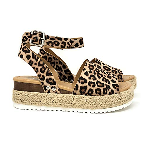 SODA Women's Open Toe Ankle Strap Espadrille Sandal (7.5 M US, Oat Cheet)