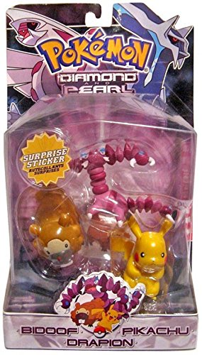 Pokemon Diamond and Pearl Series 2 Basic Figure 3-Pack Pikachu, Bidoof and Draipon