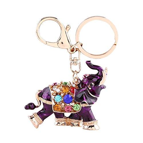 1 Pc Auspicious Elephant Keychain 3D Keyn Holder Chains Keyrings Colorful Crystal Bag Pendant - Fur Pouch Faux Elephant