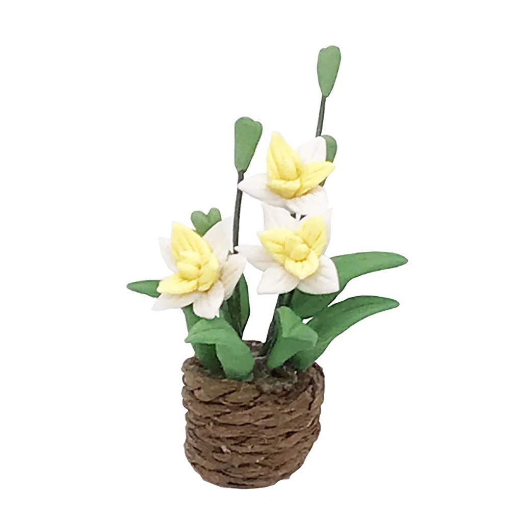 Binory Mini Wall Hanging Flower in Pot for 1/12 Dollhouse Furniture,Fashion Modern Design Miniature Home Living Room Kids Pretend Toy,Creative Birthday Handcraft Gift(Yellow)