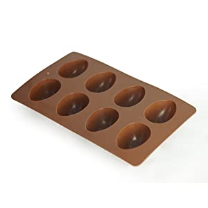 Mirenlife 8-Cavity Egg Shape Non Stick Silicone Mold for Chocolate, Pastry, Cake, Muffin, Bread, Big Ice Cube, Soap, and More