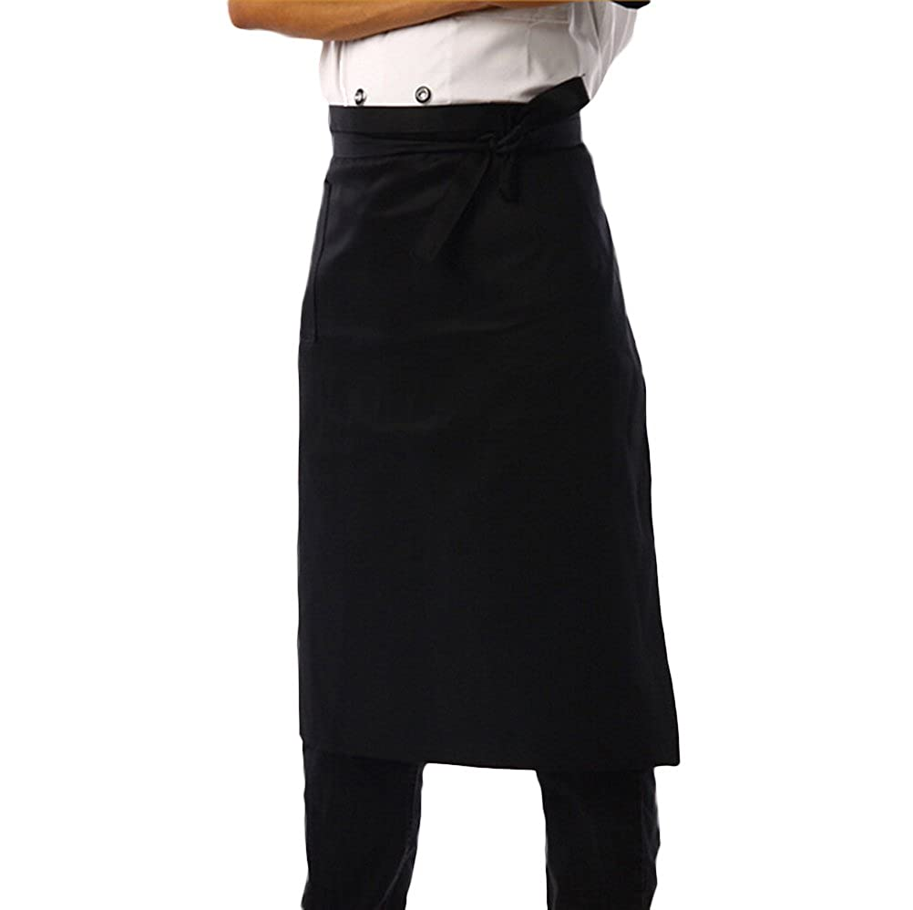 Nanxson(TM) Men's Chef Black Unisex Half Long Solid Color Bistro Apron AL8024- one size) AL8024*1pc