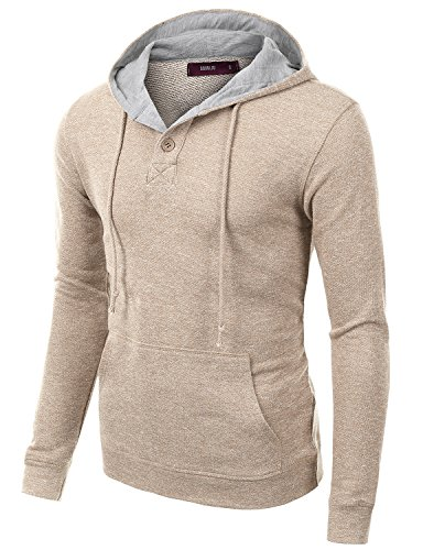 Doublju Mens Fashionable Soft Long Sleeve Pullover Hoodie BEIGE,S