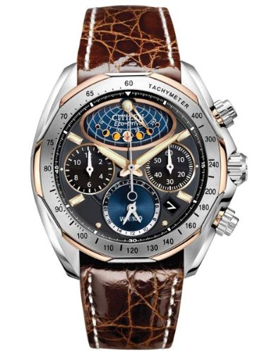 Citizen Men's AV3006-09E The Signature Collection Eco-Drive Moon Phase Flyback Chronograph Watch (Watch Moon Wrist Phase Chronograph)
