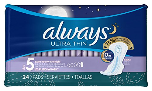 Always Ultra Thin Extra Heavy Overnight Pads with Flexi-Wings 24 ea (Pack of 3)