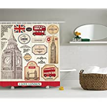 Ambesonne London Decor Collection, Design of Conventional British Characteristics Big Ben Bus Tower Bridge and a Banner Image, Polyester Fabric Bathroom Shower Curtain, Red Ivory Sepia
