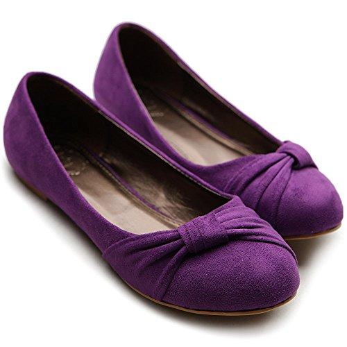 Ollio Ballerine Femme Faux Suède Plat Violet