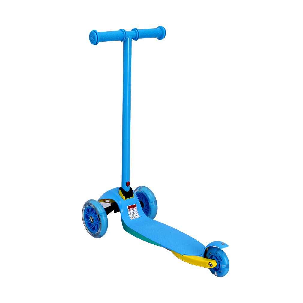 Fascol Patinete Plegable de 3 Ruedas para niños de 2 - 5 Años, Scooter 3 Ruedas para Niños, con Rueda Brillante, Azul