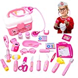 Doctor Toys Stethoscope Injections Nurse Pretend Play Kit for Kids Pink Luminous Sound  Medical Doctor's Kit 30 pcs Role Play Educational Toys