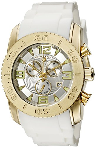 Swiss Legend Men's 10067-YG-02S Commander Analog Display Swiss Quartz White Watch (Mens Commander Chronograph Watch)