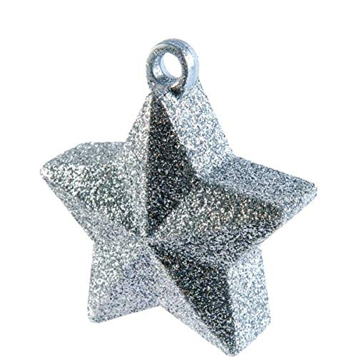 Silver Glitter Star Balloon Weight | Party Decor | 12 Ct.