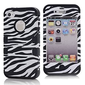 SHHR-HX4G194N Zebra Design Hybrid Cover Case for Apple iPhone4 4s 4G -Black Color