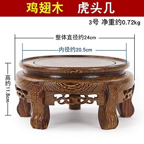 (SeedWorld Figurines & Miniatures - Wenge Solid Wood Carving Crafts vase Ornaments Wood Block Floor Base Circular Bonsai Buddha Aquarium Base 1 PCs)