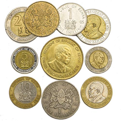 10 East African Kenyan Coins from Kenya Old Collectible Coins LOT. Perfect Choice for Your Coin Bank, Coin Holders and Coin Album