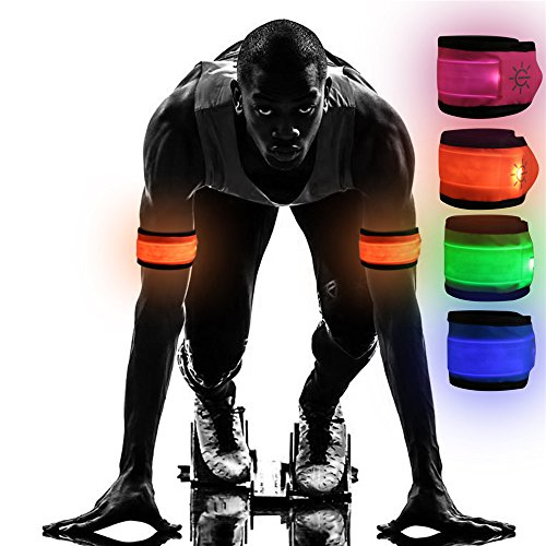 Emmabin [4 Pack LED Slap Armband Lights Glow Band for Running, Replaceable Battery - 4 Modes (Always Bright/Quick Flashing/Slow Flashing/Off), 35cm Glow Bracelets with 4Pcs (Mode: EB-AB4X35)]()