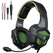 EMMETTS SA807 Gaming Headset for NEW Xbox One PS4 PC Laptop Mac Tablet Smartphone Stereo 3.5mm Headphone with Microphone Volume Control(Black Green)