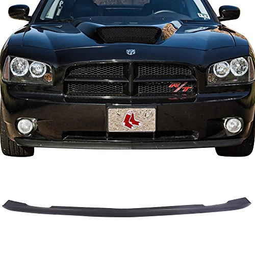 Front Lower Bumper Lip Fits 2005-2010 Dodge Charger | Factory Style Unpainted CF Lip Spoiler Air Dam Chin Protector by IKON MOTORSPORTS | 2006 2007 2008 2009