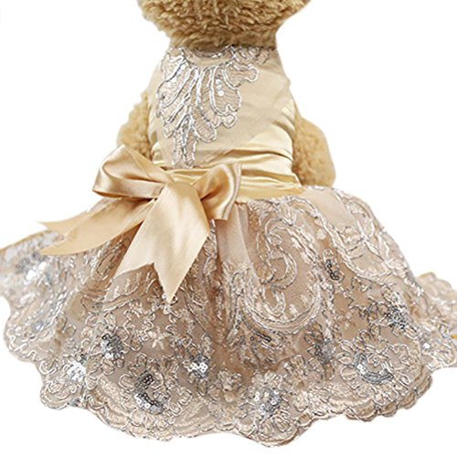 Wakeu Pet Clothes, Small Dog Girl Dress Puppy Sequins Embroidered Lace Tutu Clothes Wedding (XS, Khaki)