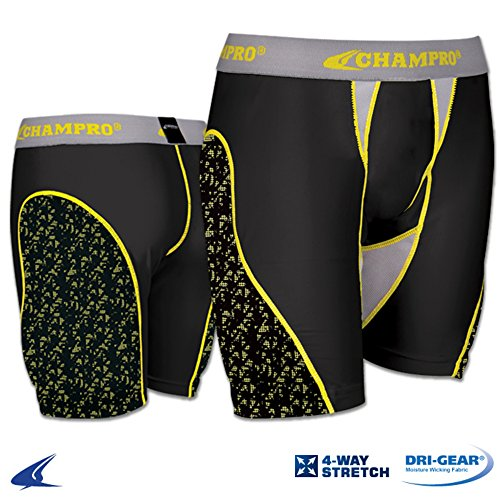 Champro BPS11 Womens Fastpitch Softball Sliding Short BPS11 Womens Black, Grey Panel XS by Blackouttees