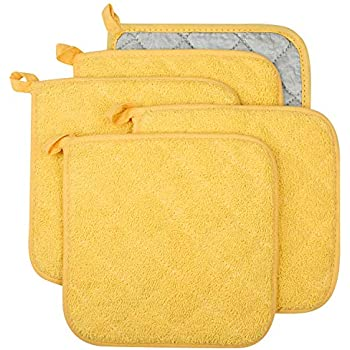 Lifaith 100% Cotton Kitchen Everyday Basic Terry Pot Holder Heat Resistant Coaster Potholder for Cooking and Baking Set of 5 Yellow