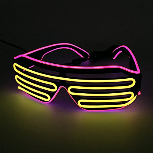 Two Color Mixed EL Wire Glasses LED Light Up Rave Party Glasses For Night Club and Ball Party