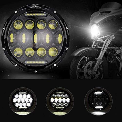 (IRONWALLS 7 inch Led Headlights Headlamps Angel Eye Round Halo Black For Harley Davidson Motorcyle Jeep Wrangler TJ JK)