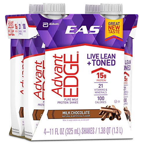 EAS AdvantEDGE Ready-To-Drink Nutrition Shake, Milk Chocolate, 24 Count (one month supply) (Eas Sports Nutrition)