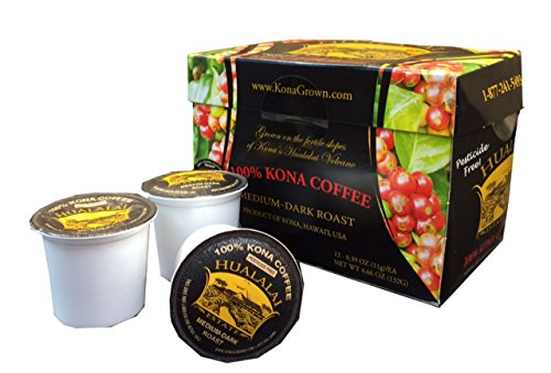 100% Kona Coffee Single Serve Cups By Hualalai Estate - 12count