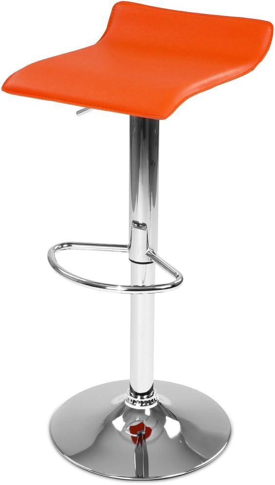 MIADOMODO Sgabello da Bar con Schienale e Braccioli da Colazione 60-81 cm Acciaio Cromato da Cucina Colore e Set a Scelta con Poggiapiedi Altezza Regolabile Sedia Girevole 360/°