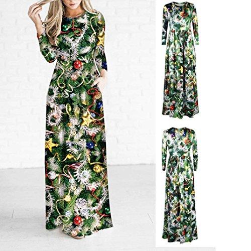Han Shi Dress, Women Christmas Tree Santa Claus Elk Hat Print Long Sleeve Party Long Gown (XL=(US L), Green) - 42' Tree Skirt