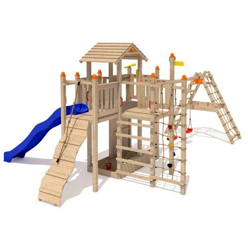 ISIDOR Funny Foo Spielturm Kletterturm Rutsche 2 Schaukeln Kletternetz XL-Leiter (mit erweitertem Schaukelanbau inkl. 2 Schaukeln)