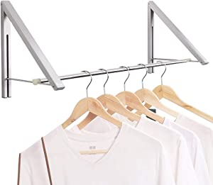 Anjuer Laundry Room Drying Rack Wall Mounted Clothes Hanger Folding Wall Coat Racks Aluminum Home Storage Organiser Space Savers Silver 2 Rakcs with Rod