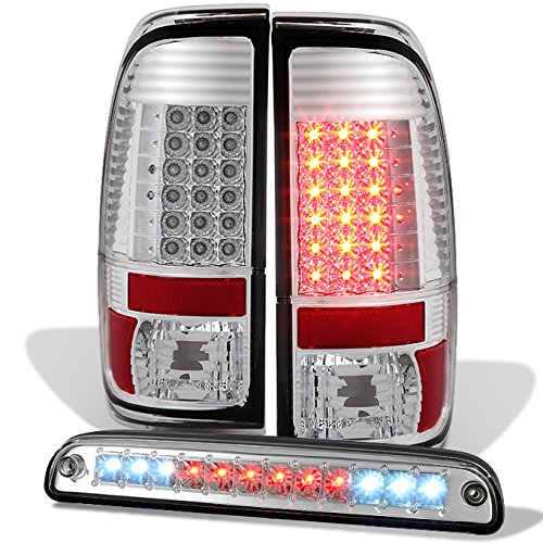 For [LED Set] 08-16 Ford SuperDuty Truck Chrome Bezel Tail Lights + 3rd Brake Lamp Set -