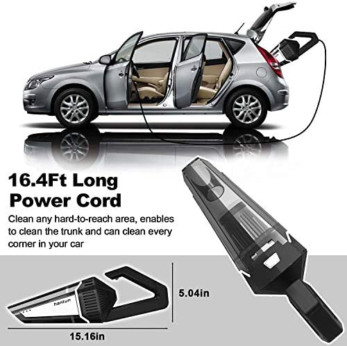 Car Vacuum, Hantun Corded 12V 120W 5000Pa High Power Portable Handheld Vacuum Cleaner with 16.4FT(5M) Power Cord, Strong Aluminum Fan, 2 HEPA Filter, Wet/Dry Use, for Car Cleaning