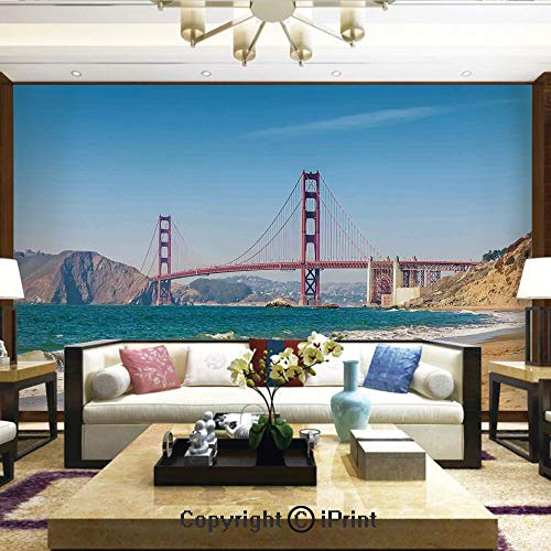 (Lionpapa_mural Artistic Background Removable Wall Mural Self-Adhesive,Panoramic View of Golden Gate Bridge San Francisco Coastline Nature Seascape,Home Decor - 100x144)