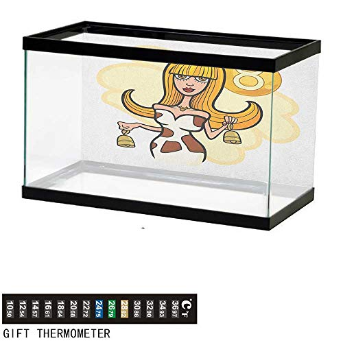 - Jinguizi Zodiac TaurusFish Tank BackdropIllustration of Woman Cartoon Character with Cow Bells and Horoscope Sign48 L X 18