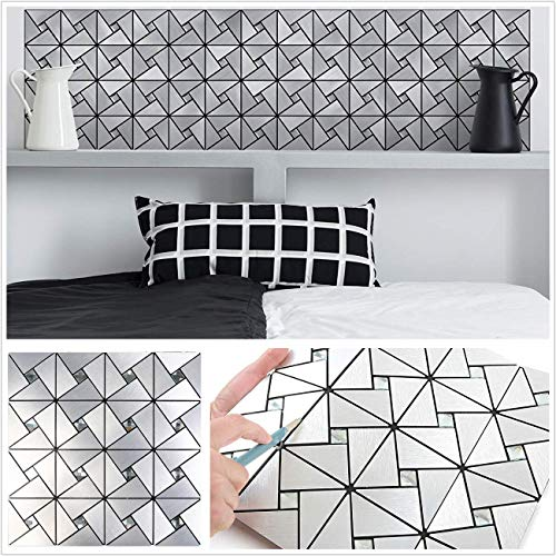 HomeyStyle Windmill Puzzle Glass Mixed Peel and Stick Tile Metal Backsplash for Kitchen Bathroom Stove Walls Self-Adhesive Aluminum Surface Metal Mosaic Tiles 3D Wall Sticker,Pack of 5 Tiles 12
