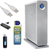 LaCie d2 Quadra 4TB USB 3.0 Hard Drive with 8GB USB 2.0 Flash Drive, 4-Port USB Hub, USB Extension Cable and 8oz BlowOff Canned Air Duster