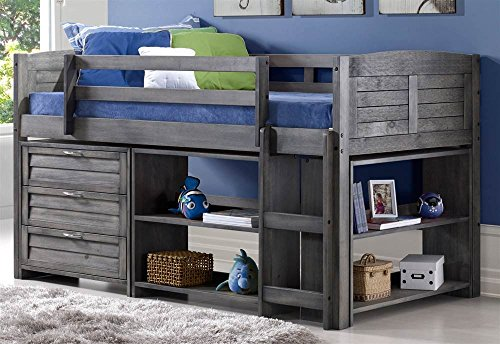 Donco Kids 790-TAG-B Louver Modular Low Loft Bed Combo B, Twin, Antique Grey