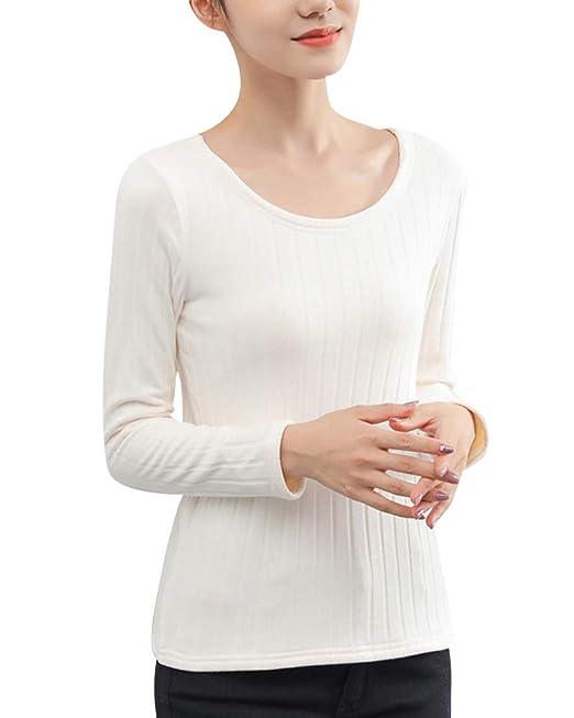 Mujer Ropa Interior Térmica Manga Larga Cuello Redondo Espesar Caliente Camisetas Blanco M