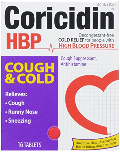 Coricidin HBP Antihistamine Cough & Cold Suppressant for People with High Blood Pressure, 16 ct (Cough Syrup For Adults With High Blood Pressure)
