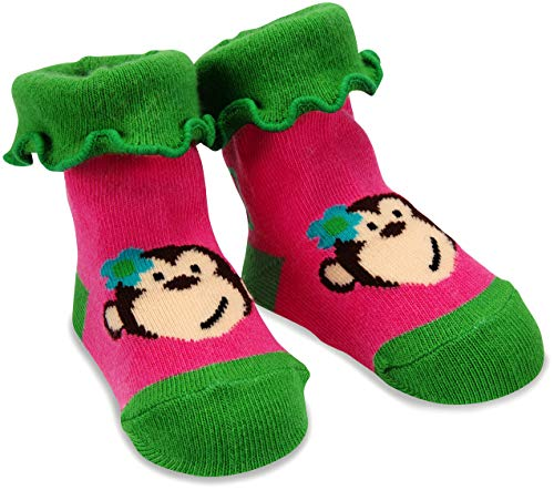 Izzy & Owie One Size Fits All Baby Pink Monkey Socks ()