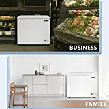 BLUELINETECH 10 Cubic Feet Chest Freezer White with Wire Storage Basket for Home, Kitchen, Garage, and Business