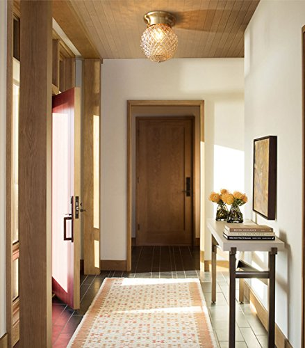 NOXARTE Pineapple Style Ceiling Light Art Design Brass Body Glass Shade Flush Mount Ceiling Lamp Lighting Fixture for Bathroom, Foyer, Hallway by NOXARTE (Image #2)